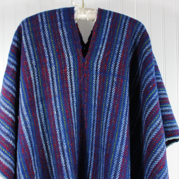 Wool Ruana Poncho Andes Style Heavy Blue Red Stripe All Gender