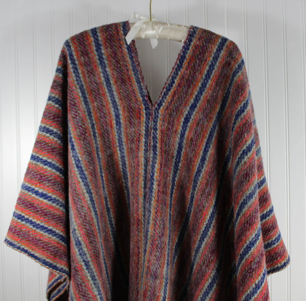 Wool Ruana Poncho Andes Style Handsome Stripe Orange Blue Purple