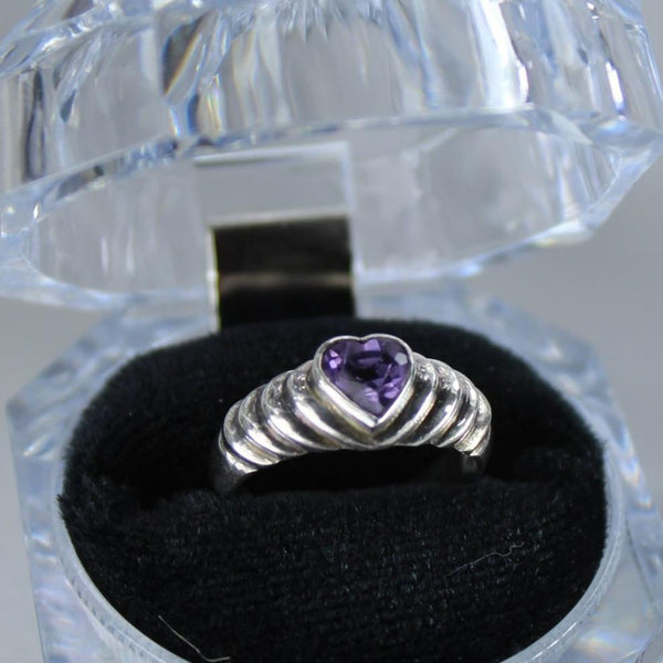 Vintage Sterling Ring Heart Shape Amethyst Color Stone