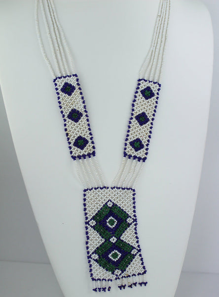 Southwest Beaded Necklace on Cord Nice Blue Green White