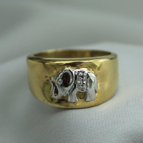 Sterling Ring Elephant Gold Silver Tone Metal