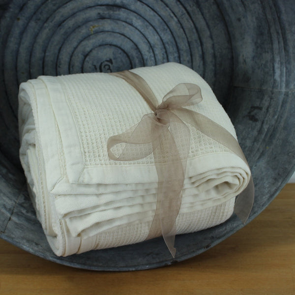 "Neutral Bone Cotton Blanket  - Heavy  90"" X 89"" Waffle Weave 1"" Textured Binding 4 Sides"