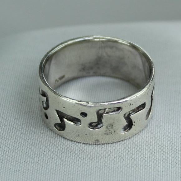 Sterling Band Ring Musical Notes Mark MKV