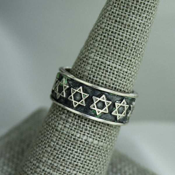 Sterling Band Ring Star of David Unisex 7.75
