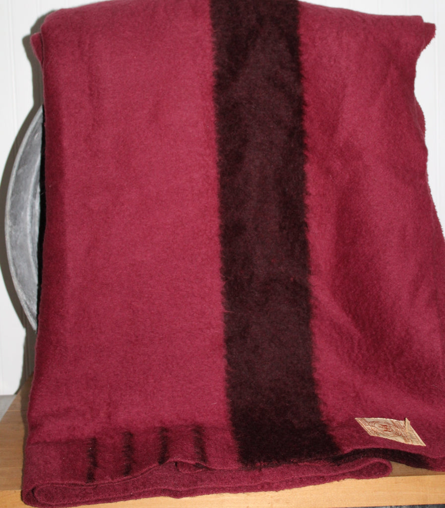 "Hudson Bay 4 Point Bar Wild Cranberry Wool Blanket - 70"" X 86"" England wine color"