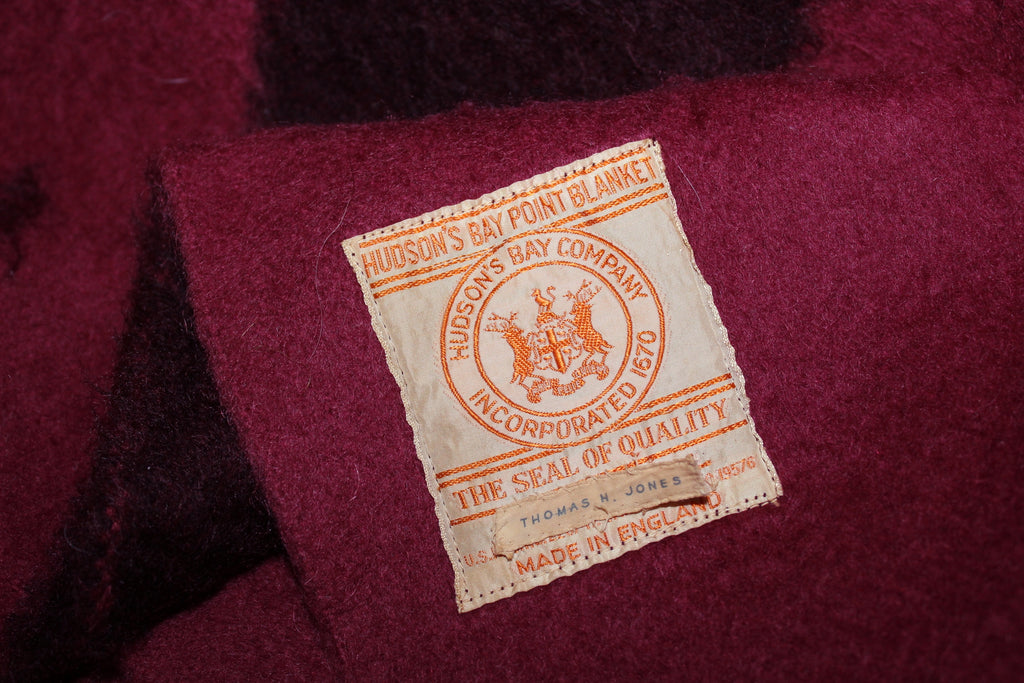 "Hudson Bay 4 Point Bar Wild Cranberry Wool Blanket - 70"" X 86"" England original label UK"