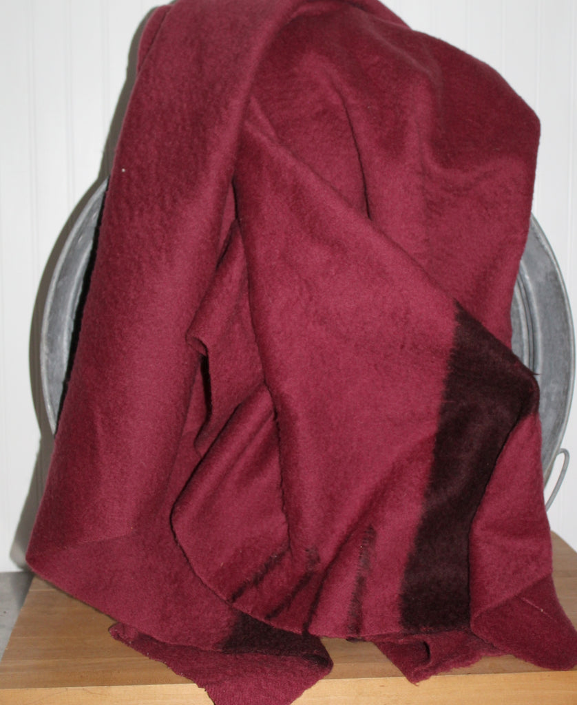 "Hudson Bay 4 Point Bar Wild Cranberry Wool Blanket - 70"" X 86"" England burgundy color"