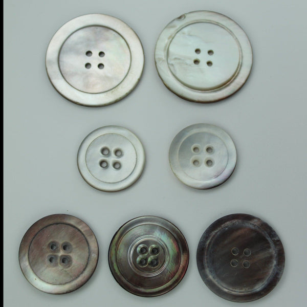 Collection Vintage Buttons Grey Natural Pearl  Lot 7 Buttons