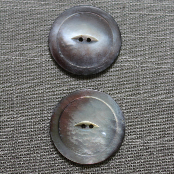 "Vintage Real Pearl Buttons 1 7/16"" Matching Pair Iridescent Colorful"