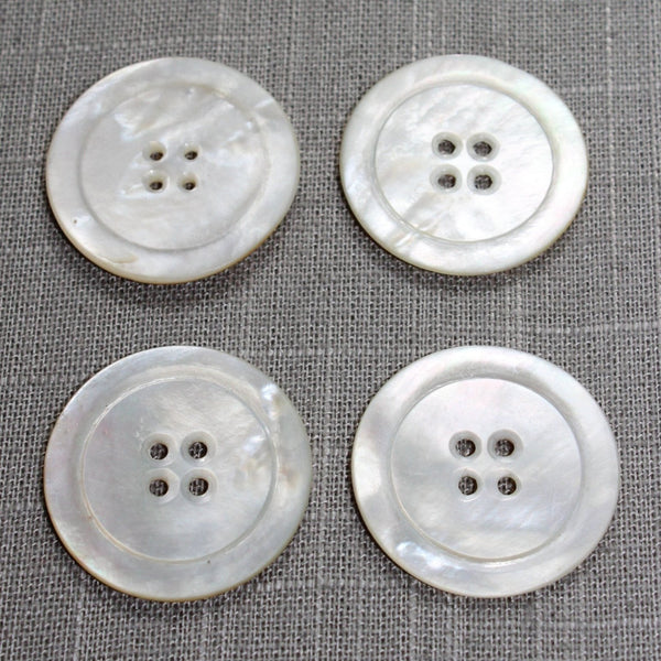 "Vintage Pearl Buttons 1 7/16"" White Natural MOP Lot 4 Buttons"