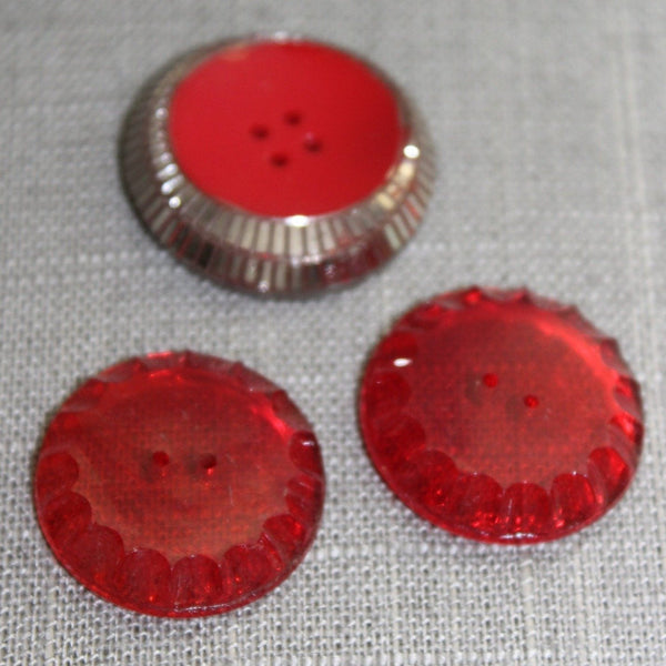 Red Glass Buttons Lot 3 Vintage Collection Scallop Silver Deco