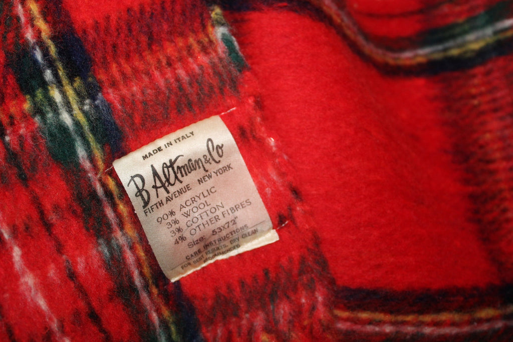 Acrylic Blend Throw B Altman Made Italy Red Tartan Plaid Heavy Dense NYC