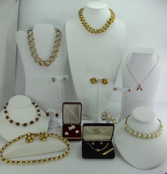 Jewelry Lot 8 Sets Necklace Earrings Vintage Germany Gold Crackle Filigree Pearl CZ MOP