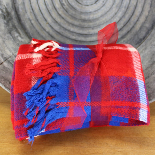 faribo red white blue classic fringed throw