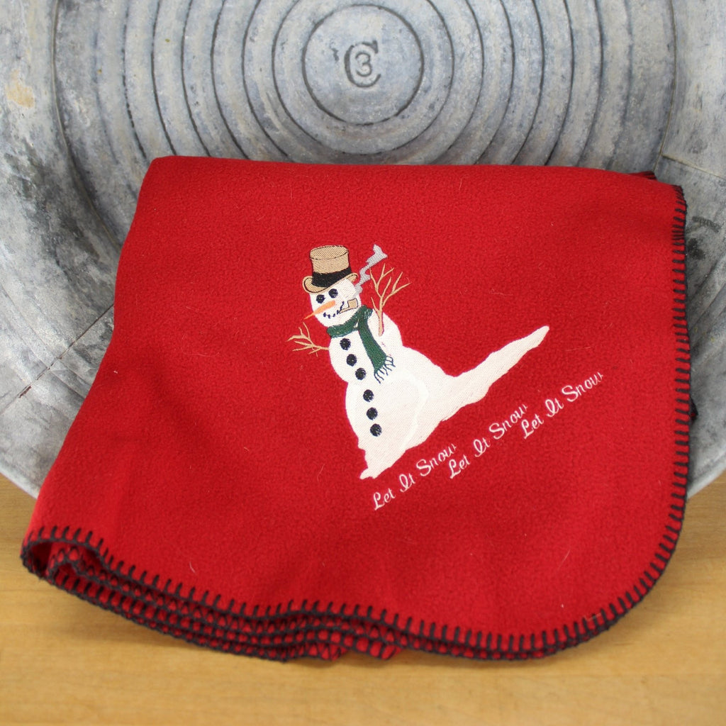 holiday red wool throw Woolrich Snowman bright red with black blanket stitch edges