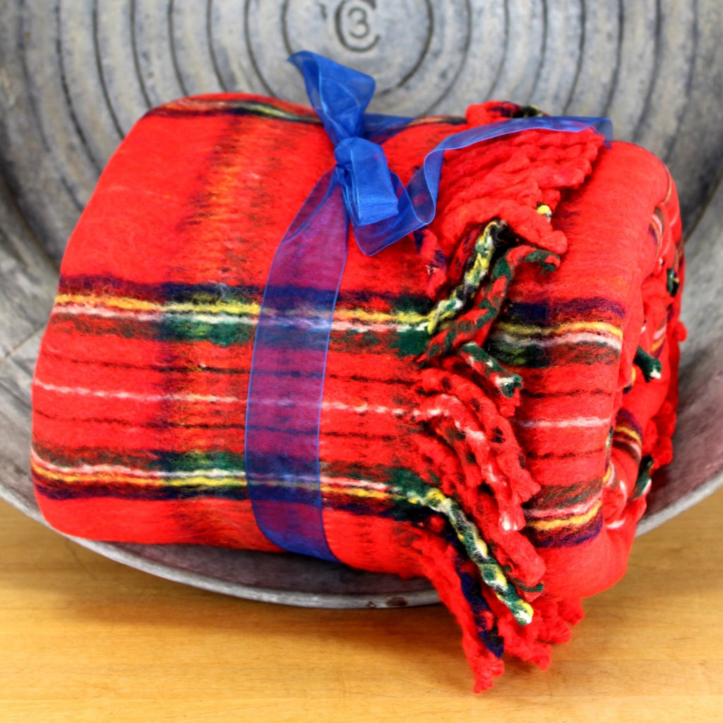 b altman bright red plaid throw