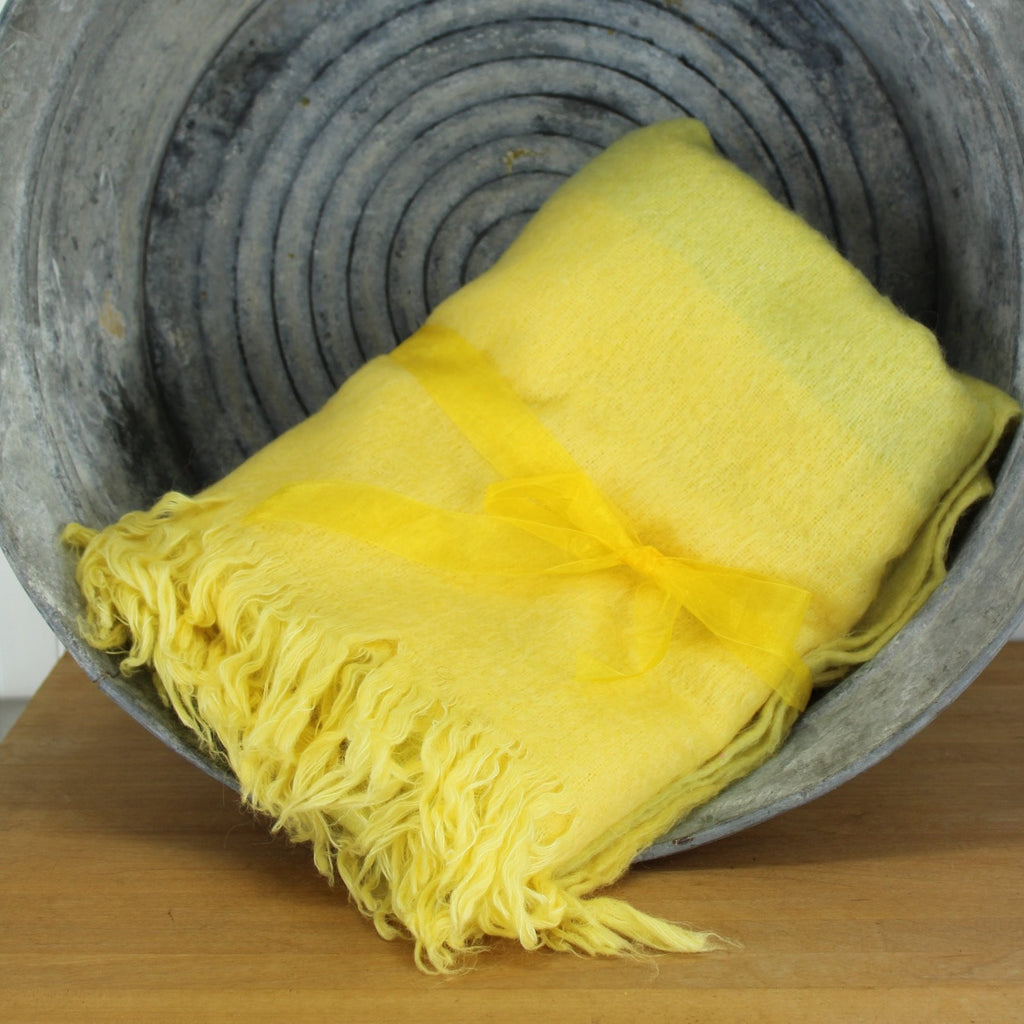 yellow pale green ombre mohair throw made in India soft decor item