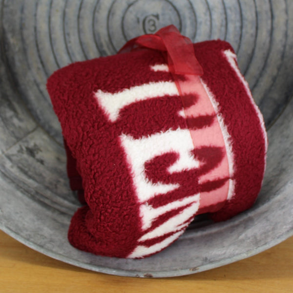 temple university stadium blanket cherry red white logo throw
