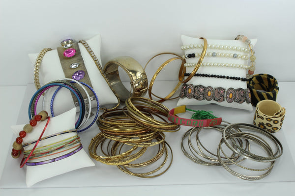Costume Bracelet Lot 80 Pieces Vintage Now from Estates Wearables Dancers Bangles Pearls