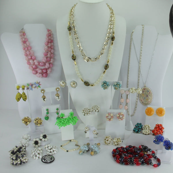 Jewelry Lot Mid Century Imported Japan Hong Kong Germany 32 pieces Vintage Cluster Earrings Necklaces
