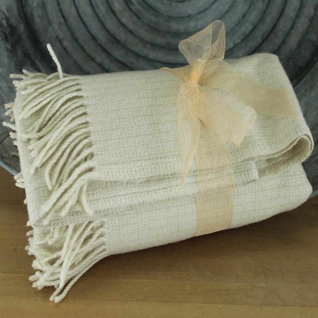 milennium tweed oatmeal and natural organic look fringed throw