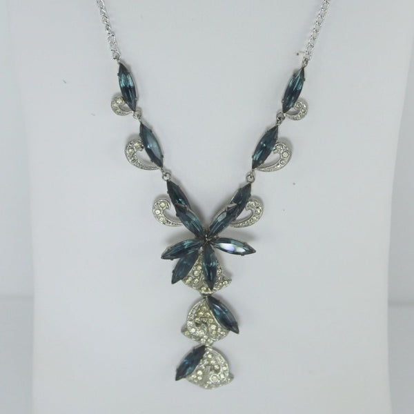 Stunning Lavalier Necklace Blue and Clear Glass Dimensional Lovely