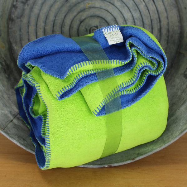 pair of lime green reversing to bright blue cotton blankets great and rare to find