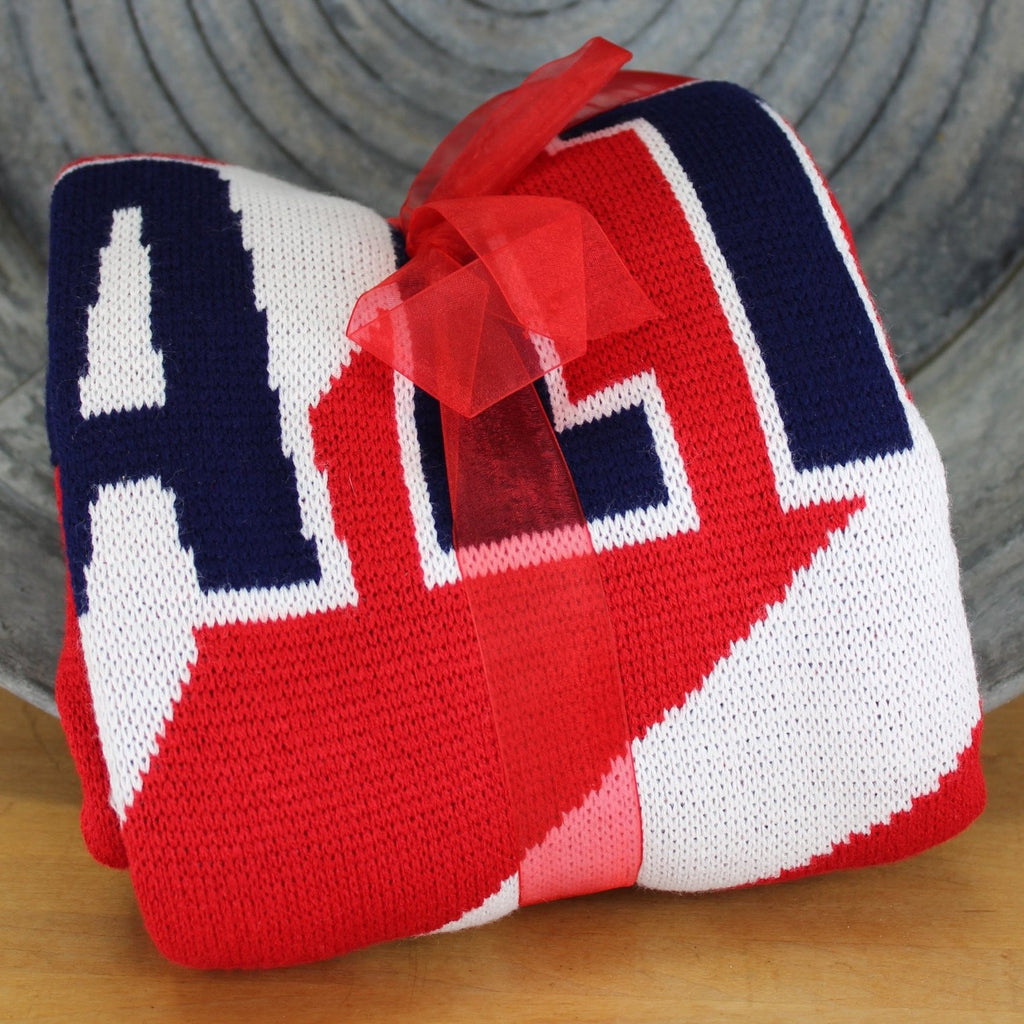 american rock salt sweater knit throw red white navy with logo cool blanket