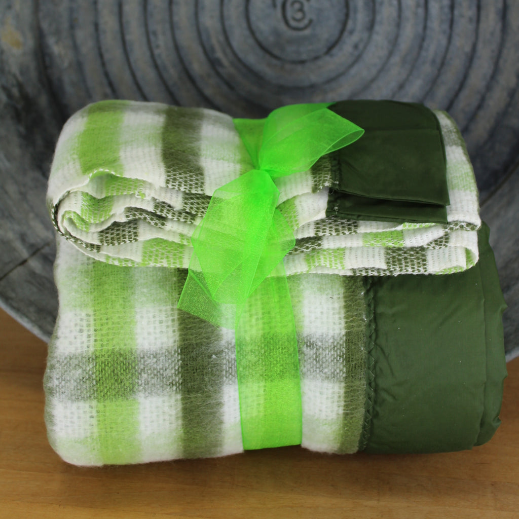 all shades of green with white love this stunning check acrylic blanket