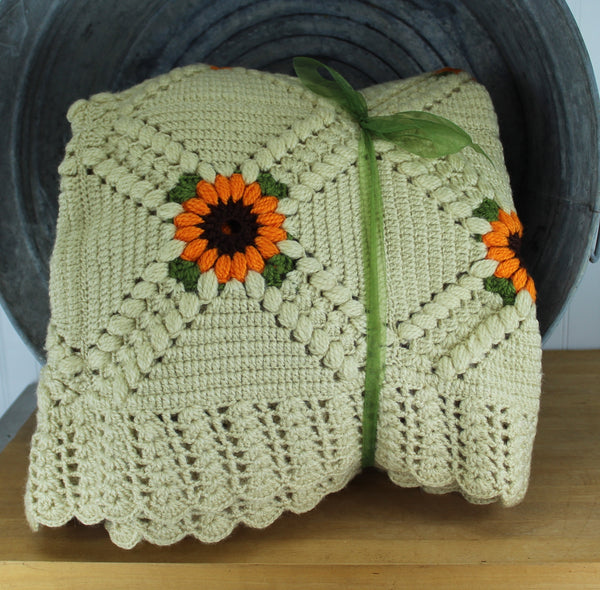 fantastic hand made sunflower design bedspread natural color with gold flower green leaves