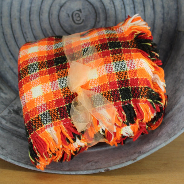 hand made bsd cover orange reds black small plaid frings 4 sides
