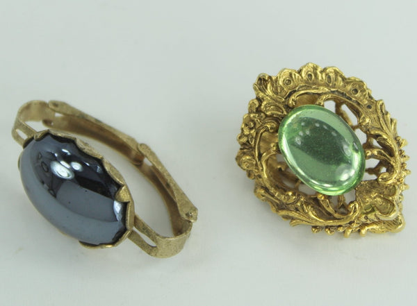 2 Vintage Scarf Rings Clips Unusual Filigree Green Hematite Oval from Estates