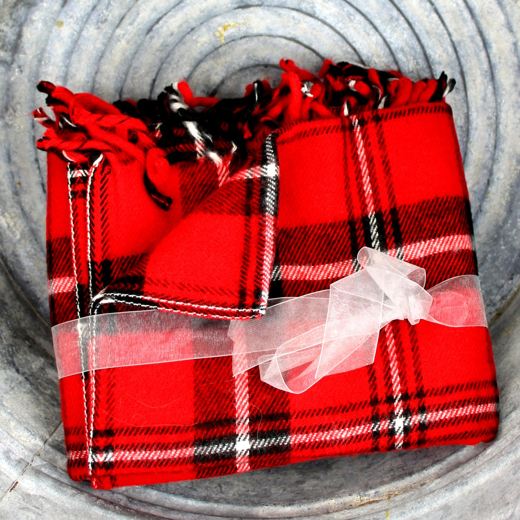 faribo classic red black white tartan plaid throw blanket fringed on ends