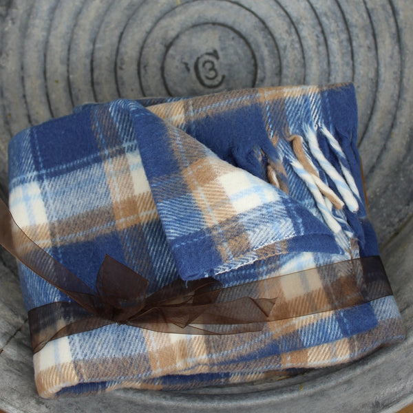 great faribo plaid tartan blue white caramel tan with long fringe