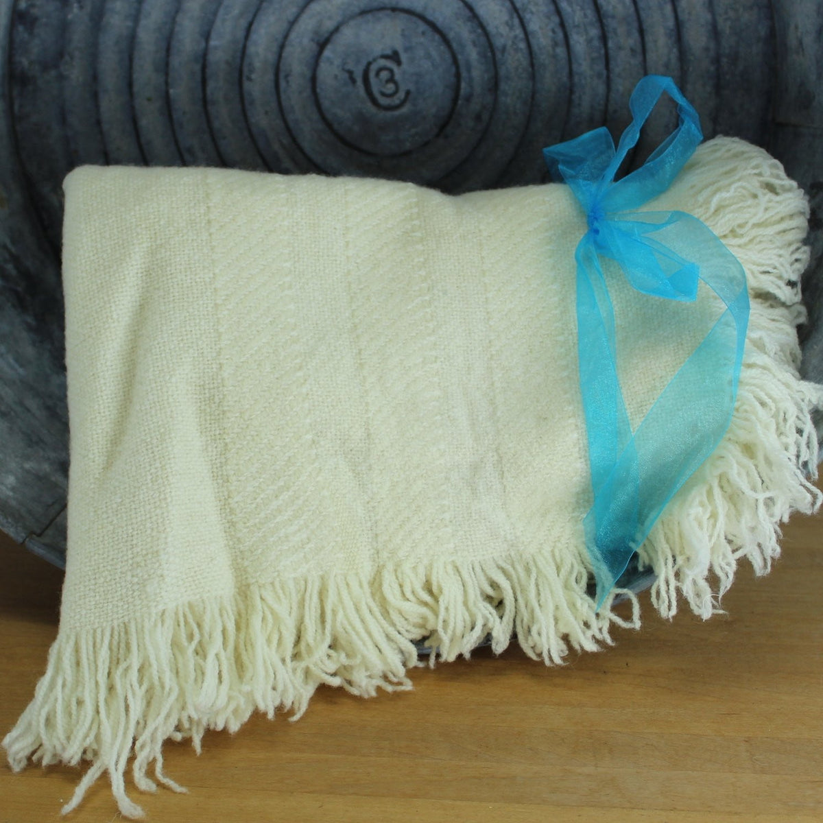 Unbranded Wool Throw Hand Woven Ivory Fringe 4 Sides 39 X 60 Olde Kitchen Home