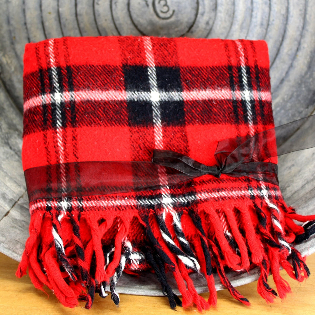 faribo bright red black white plaid.. good condition ready for use
