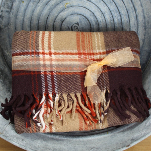 classic colors browns rust white from Faribo faribault mills minnesota vintage soft great throw
