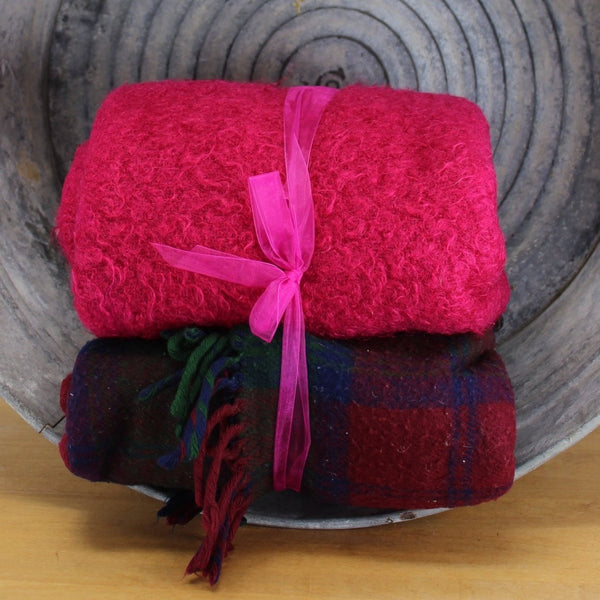 2 coordinating  color combos in vintage 2 blankets for cutters DIY or use fuchsia mohair and dark plaid wool