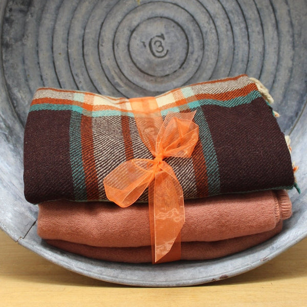 2 vintage wool blankets brown solid and brown plaid cutters DIY or use