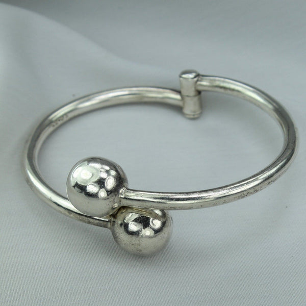 Modernist Hinged Bracelet Silver Ball 925 Mexico Signed TD-34