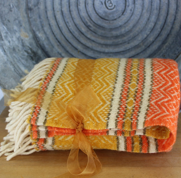 Faribo Woven Throw Blanket - Mesa 100% Wool Yellow Orange Brown USA made