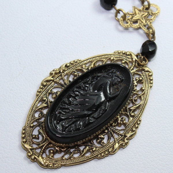 "Filigree Pendant Necklace ""1928"" Maker Victorian Woman Carved retro"