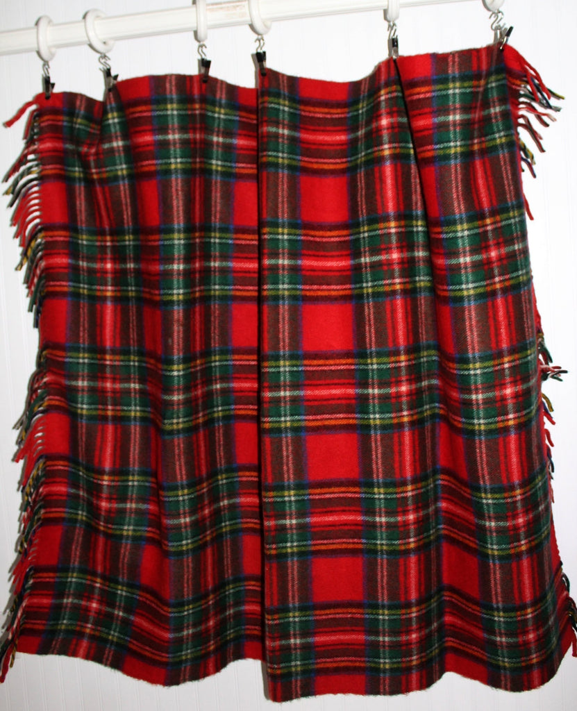 "Horner Wool Fringed Throw 51"" X 63"" Red Tartan Plaid Heavy Soft Nap Excellent 1950s rare condition"