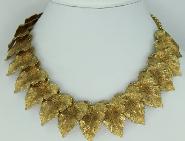 Choker 1980s Necklace Finely Detailed Leaves Heavily Dimensional Fine Quality