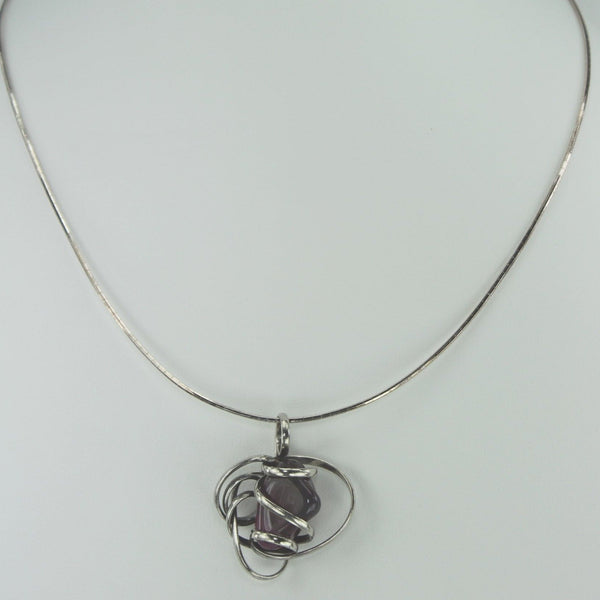 Artisan Pendant Necklace Huge Silver Wrap Purple Mauve Stone 925 Technibond Chain