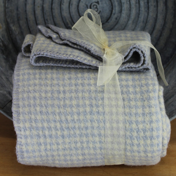 Wool Blanket - DIY Felting Cutter or Use ~ Blue Off White Herringbone