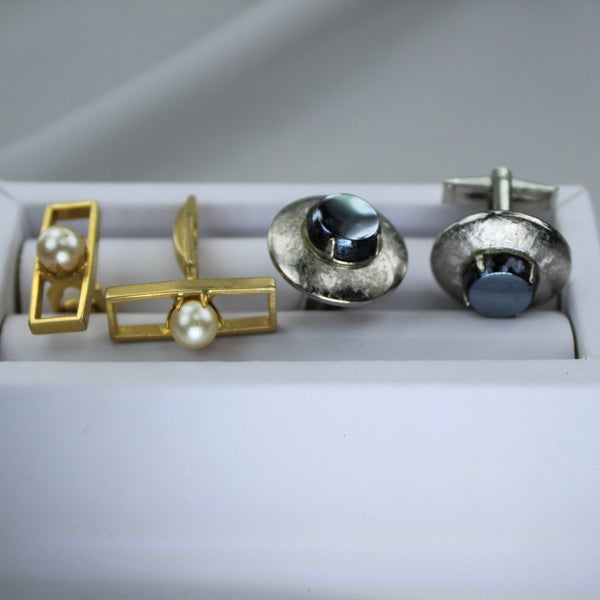 Vintage Cuff Links 2 pair Collection Goldtone Pearl Silver Black  rectangle