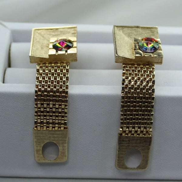 Vintage Cuff Links Wrap Around Goldtone Watermelon Aurora Borealis Saturday Night Fever
