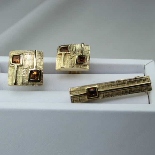 Vintage SWANK Tie Bar Cufflinks Set Goldtone Amber Faceted Stones