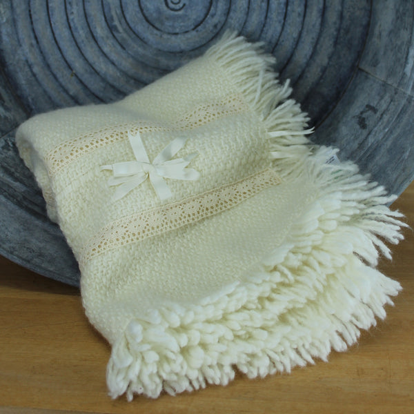 Branigan Weavers Ireland Wool Throw- Shawl Crib Blanket Lace Ribbons